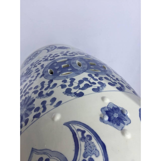 Chinese Porcelain Garden Seat in Blue and White Floral Motif For Sale - Image 10 of 13