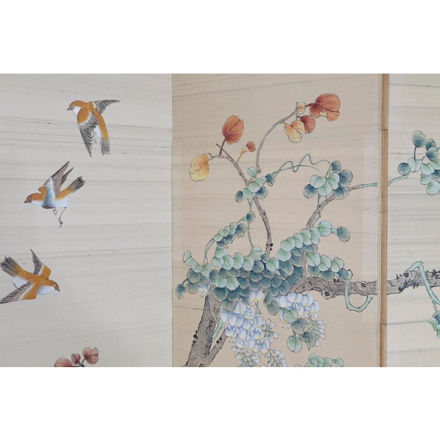 Japanese Japanese Four-Panel Floor Silk Screen Landscape With Herons, Circa 1920s For Sale - Image 3 of 13