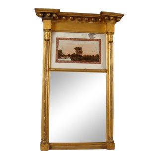 19th C. Federal Gilt Wood Reverse Painted Cottage Mirror For Sale