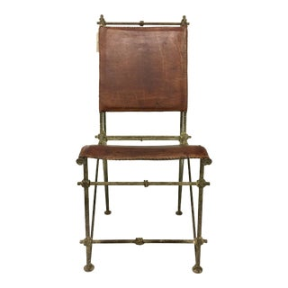 1980s Vintage Ilana Goor Leather & Iron Chair For Sale