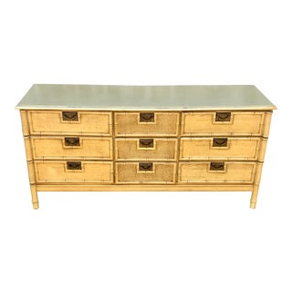1960s Hollywood Regency Stanley 9 Drawer Faux Bamboo Dresser For Sale
