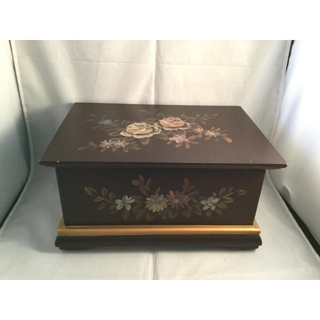 "Wood Floral Decorated Box, 10"" Long, 7"" Wide, 4"" Deep For Sale - Image 7 of 7"