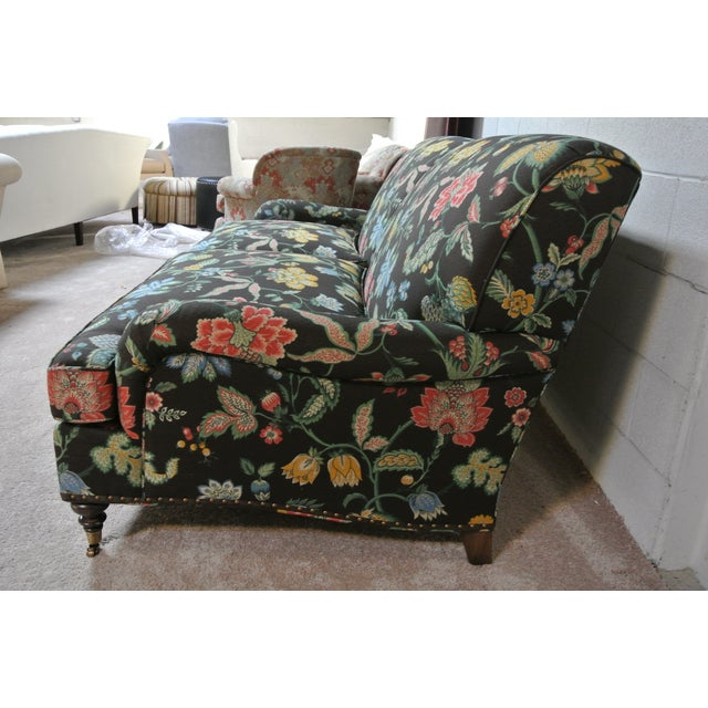 Addison Interiors Custom Willis Tight Back Sofa upholstered in Brunschwig & Fils chocolate brown multi color floral...