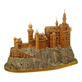 Early 20th Century Wooden Carved Model of Neuschwanstein Castle For Sale