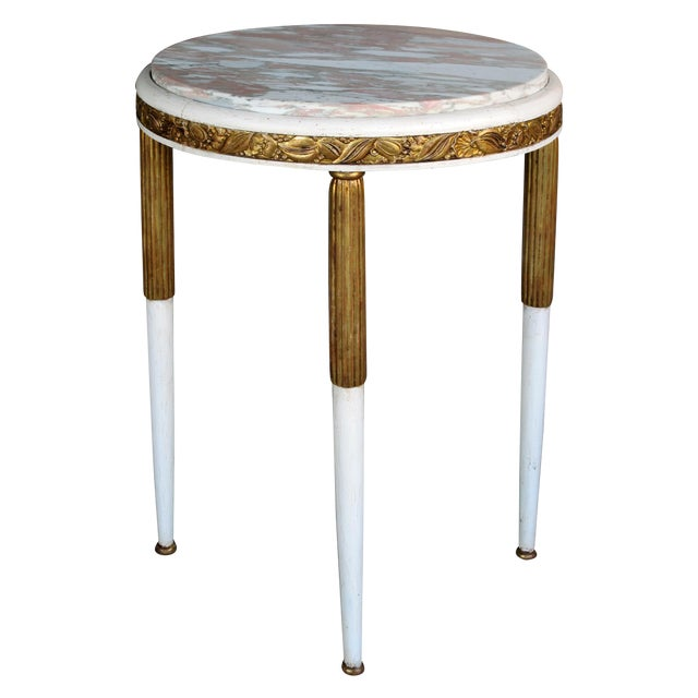 French Art Deco Gessoed & Parcel-Gilt Circular Table w/Norwegian-Rose Marble Top For Sale