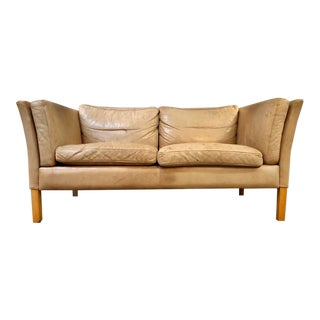 Danish Modern Loveseat in Patinated Butterscotch Leather by Stouby 1960's For Sale