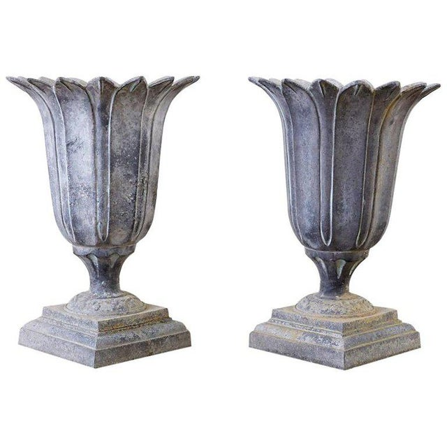 Pair of French Neoclassical Tulip Form Garden Urn Planters For Sale - Image 13 of 13