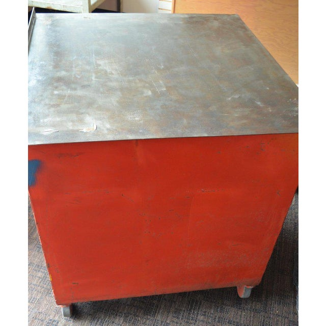 Storage Cabinet on Wheels With Steel Top as Kitchen Isle, Wait Stand, Home Bar For Sale - Image 11 of 13
