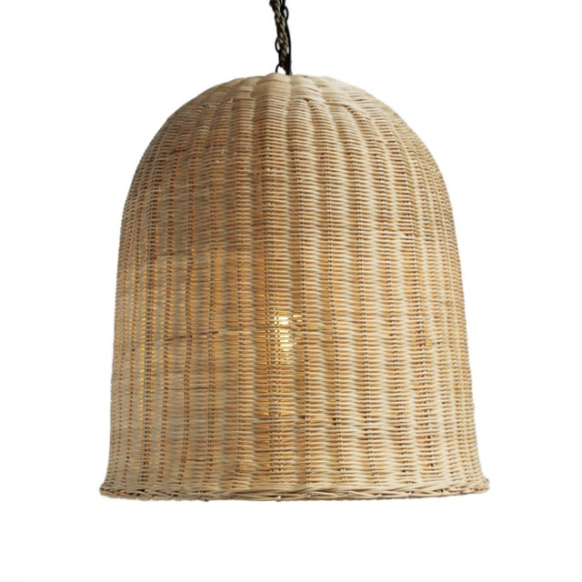 Raw Wicker Dome Lantern For Sale - Image 4 of 4