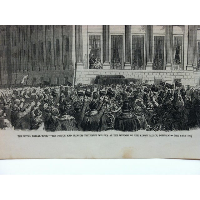 """English 1858 Antique Illustrated London News """"The Royal Bridal Tour"""" Print For Sale - Image 3 of 5"""