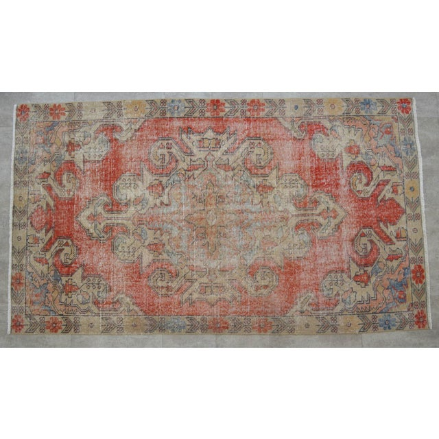 "Islamic Rug 4x8 Turkish Rug With Great Pops of Red, Vintage Hand Knotted Distressed Low Pile Runner,Romantic Shabby Chic Entry Oushak Rug 4'3""x7'5"" For Sale - Image 3 of 7"