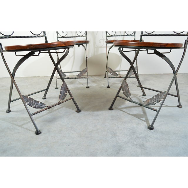 1970s 4 Folding French Bistro Chairs in Oak and Wrought Iron For Sale - Image 5 of 7