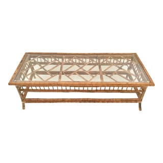 1960s Chippendale Tortoise Bamboo Coffee Table For Sale