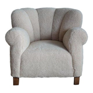 Fritz Hansen Model 1518 Large Size Club Chair in Lambswool, Denmark 1940s For Sale