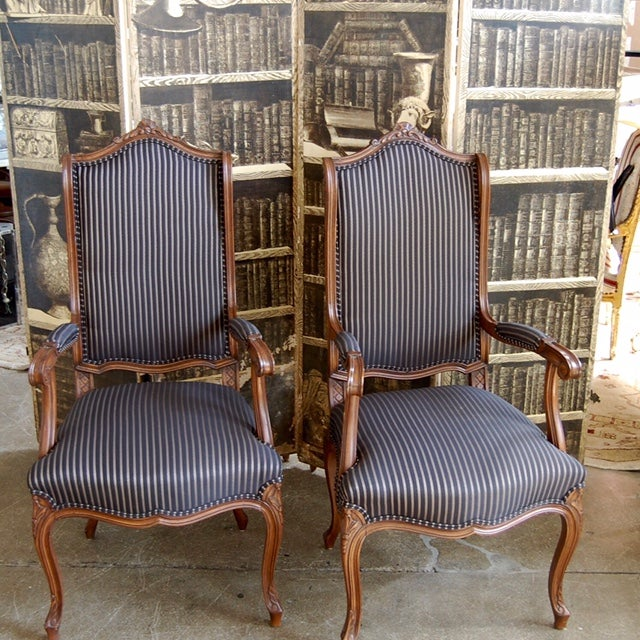 Louis XV French Pinstripe Carved Fauteuils - Pair - Image 9 of 9