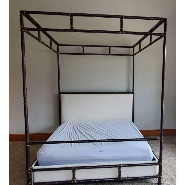 2010s Henredon Furniture Jeffrey Bilhuber Hammered Metal Bank St Queen Canopy Bed For Sale - Image 5 of 13