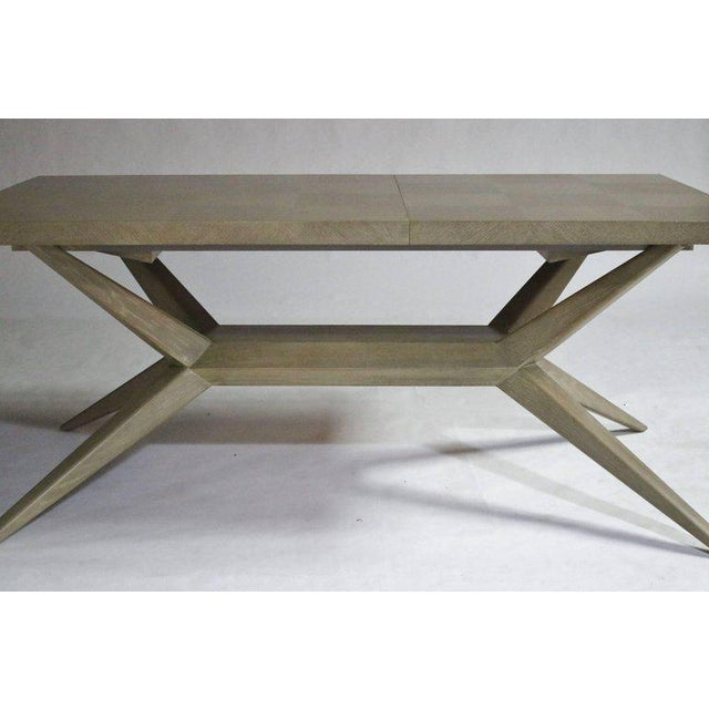 Romweber originals in modern by Harold Schwartz M-748 bleached oak dining table with beautiful parquetry design top and...