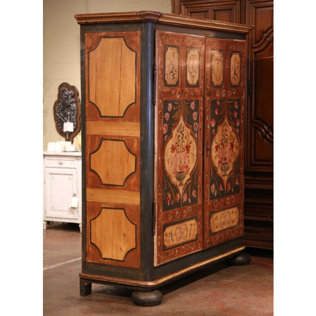 Early 19th Century French Pine Two-Door Painted Armoire From Alsace-Lorraine For Sale - Image 10 of 13
