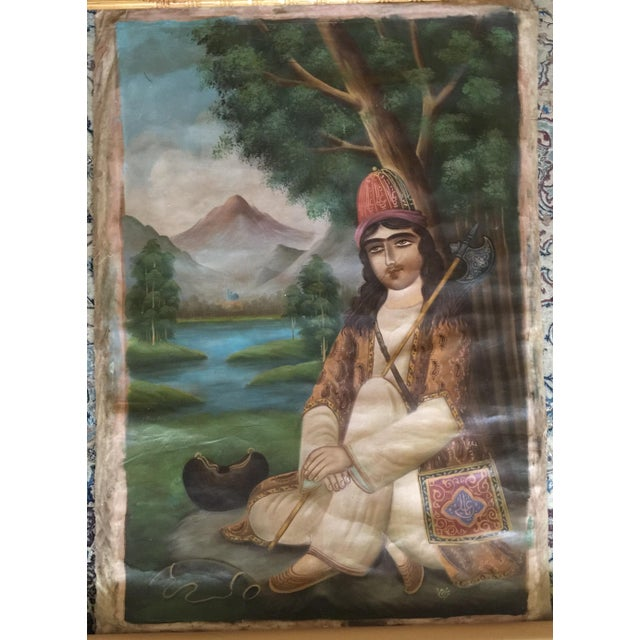 Antique 19th Century Persian Qajar Tea House Signed Oil Painting on Canvas For Sale - Image 12 of 12
