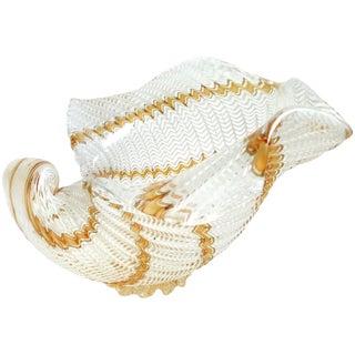 Dino Martens Aureliano Toso Murano Ribbons Italian Art Glass Seashell Bowl For Sale