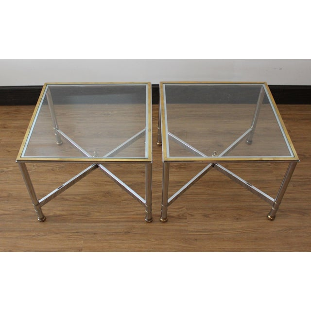 Maison Jansen Vintage French Brass, Chrome & Glass Side Tables - A Pair For Sale - Image 4 of 5