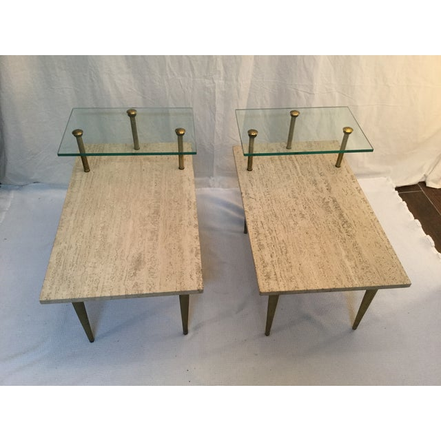 1950's Two Tear Travertine Side Tables - Pair - Image 5 of 11