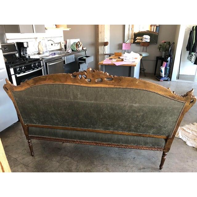 Custom Furniture Builders Sage Green Strie Velvet Louis XV Settee For Sale - Image 4 of 8
