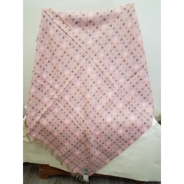 2020s Wool Throw Brown and White Polka Dots on Pink Background - Made in England For Sale - Image 5 of 13