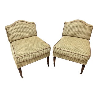 Edward Ferrell English Style Slipper Chairs on Casters For Sale