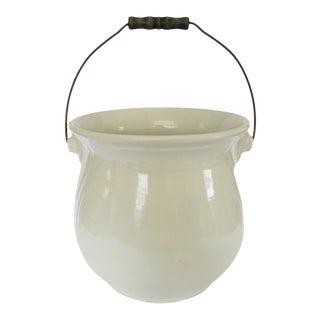 Vintage Large White Ironstone Pot Bucket with Swinging Wood Handle