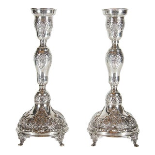 Exquisite Pair of Antique Rococo Revival Sterling Candlesticks