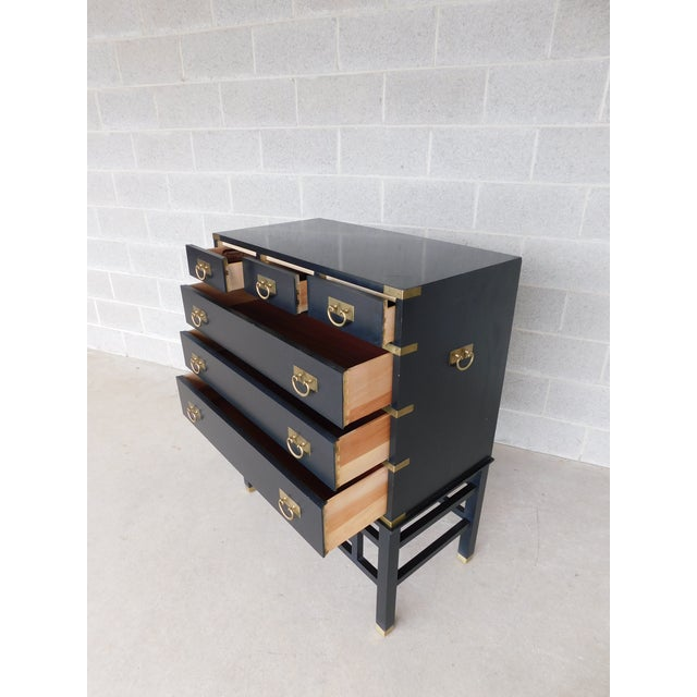 Features Quality Construction, Asian - Campaign Style, 6 Dovetailed Drawer Good Pre Owned Condition, some top surface...