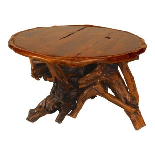 Adirondack Style Coffee Tables With Root Bases For Sale