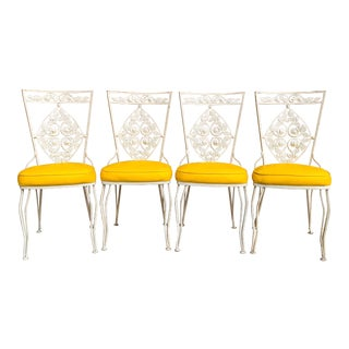 Vintage Ca 1950s Hollywood Regency Wrought Iron Patio Chairs Set - 4 Pieces For Sale