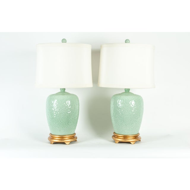 Mid Century Porcelain Lamp / Gilded Wooden Base - a Pair For Sale - Image 13 of 13