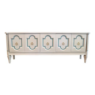 Hollywood Regency Painted Credenza With Carrara Marble Inset For Sale