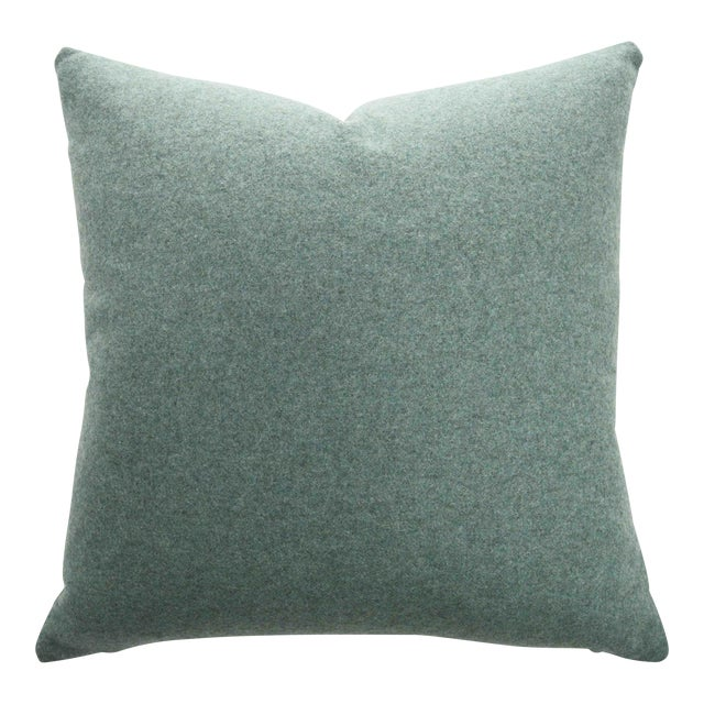 FirmaMenta Italian Solid Sage Green Sustainable Wool Pillow For Sale