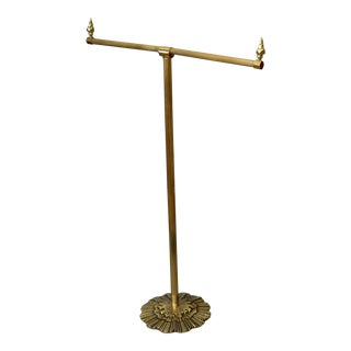 1940s Antique British Colonial Bronze Pedestal Towel Rack, Stand Made in England For Sale