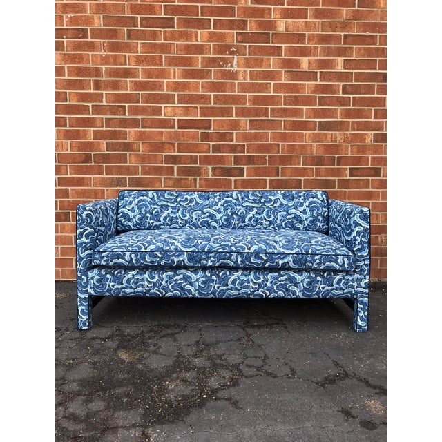 1950s Retro Modern Loveseat Covered in Kendall Wilkinson Fabric For Sale - Image 9 of 9