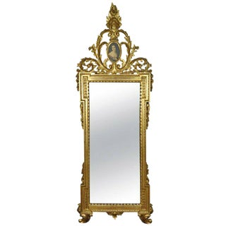 Italian Rococo Louis XV Style Gold Giltwood Wall Mirror For Sale