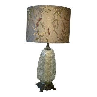 Vintage 1950s Cast Brass & Glass Lamp For Sale