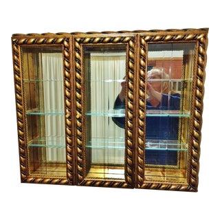 Horchow Italian Mongelli Gerardina Carved Gold Vitrine Curio Cabinet
