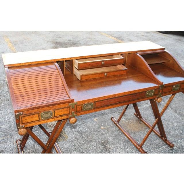 Vintage Campaign Rolltop Desk For Sale - Image 11 of 13
