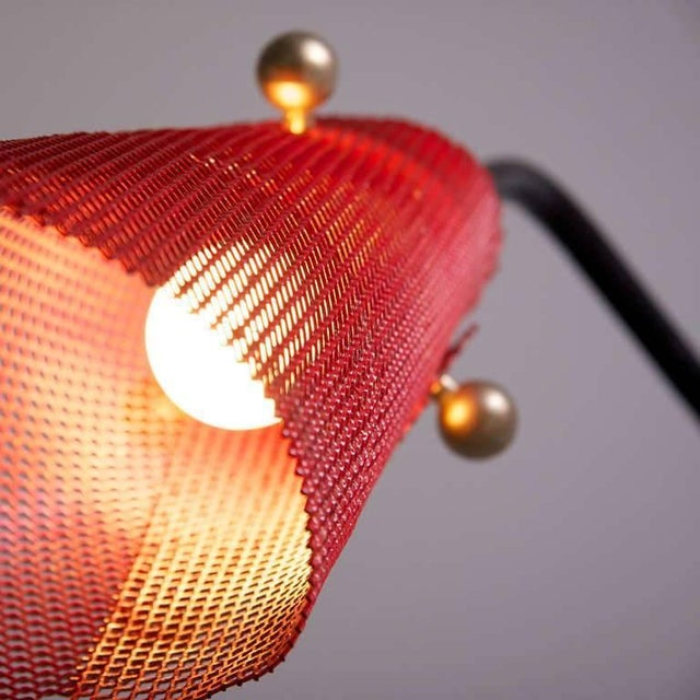 Lovely french wire floor lamp with red perforated metal shade 1950s french wire floor lamp with red perforated metal shade 1950s image 3 of 7 keyboard keysfo Gallery