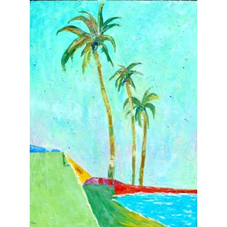 """Contemporary Large """" Three California Palms"""" Oil Painting For Sale"""