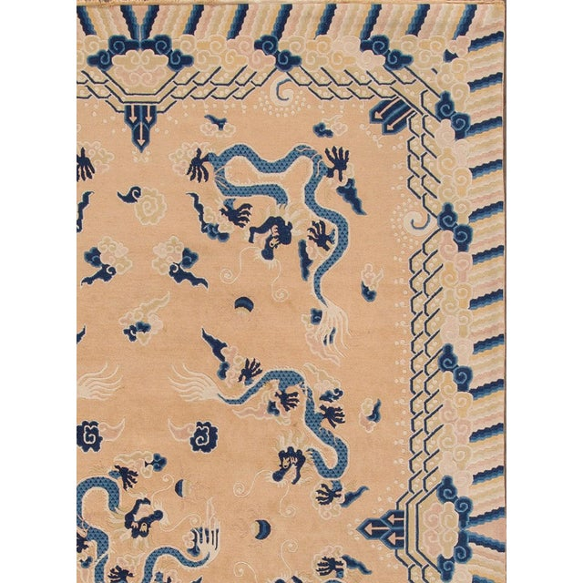"""Asian Apadana - Antique Tan and Blue Chinese Peking Rug, 6'7"""" x 9'7"""" For Sale - Image 3 of 5"""