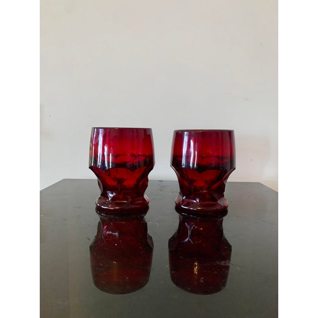Mid 20th Century Vintage Viking Georgian Ruby Red Whiskey Glasses- Set of 7 For Sale - Image 5 of 8