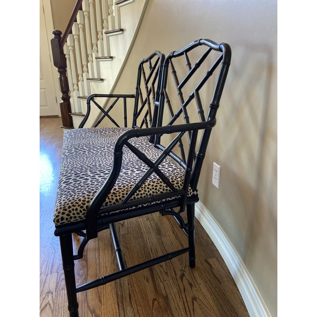 This Chippendale-style faux bamboo bench is in excellent shape and elegant taste! It will add casual style and antique...