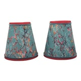 Image of Marbleized Paper Lampshades Sconce or Chandelier - a Pair For Sale
