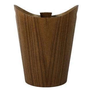 1960s Mid Century Modern Mid-Century Modern Teak Aluminum Lined Ice Bucket Barware For Sale